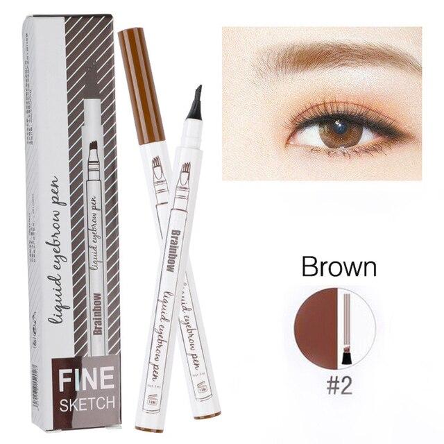 Brainbow Hot Eyebrow Tattoo Smudge-proof Pen Fine Sketch Liquid Microblad Eyebrow Pen Waterproof Tattoo Durable Eye Brow Pencil 4