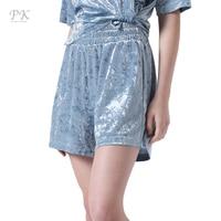 PK Blue Shorts Women Diamond Velvet Shorts Elegant Casual Drawstring Soft Short Feminino Candy Color 2017