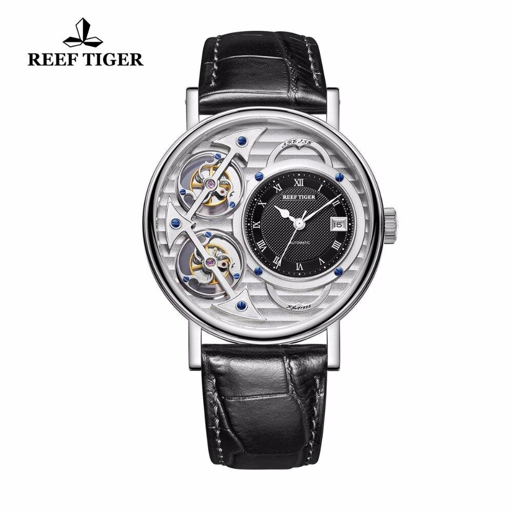Модные дизайнерские часы Reef Tiger/RT  Мужские аналоговые автоматические часы  водонепроницаемые часы с кожаным ремешком  RGA1995
