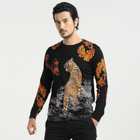 Sweater 2016 Tiger Print Sweater Men O Neck Long Sleeve Sweaters Cotton Pullover Men Winter Jumpers