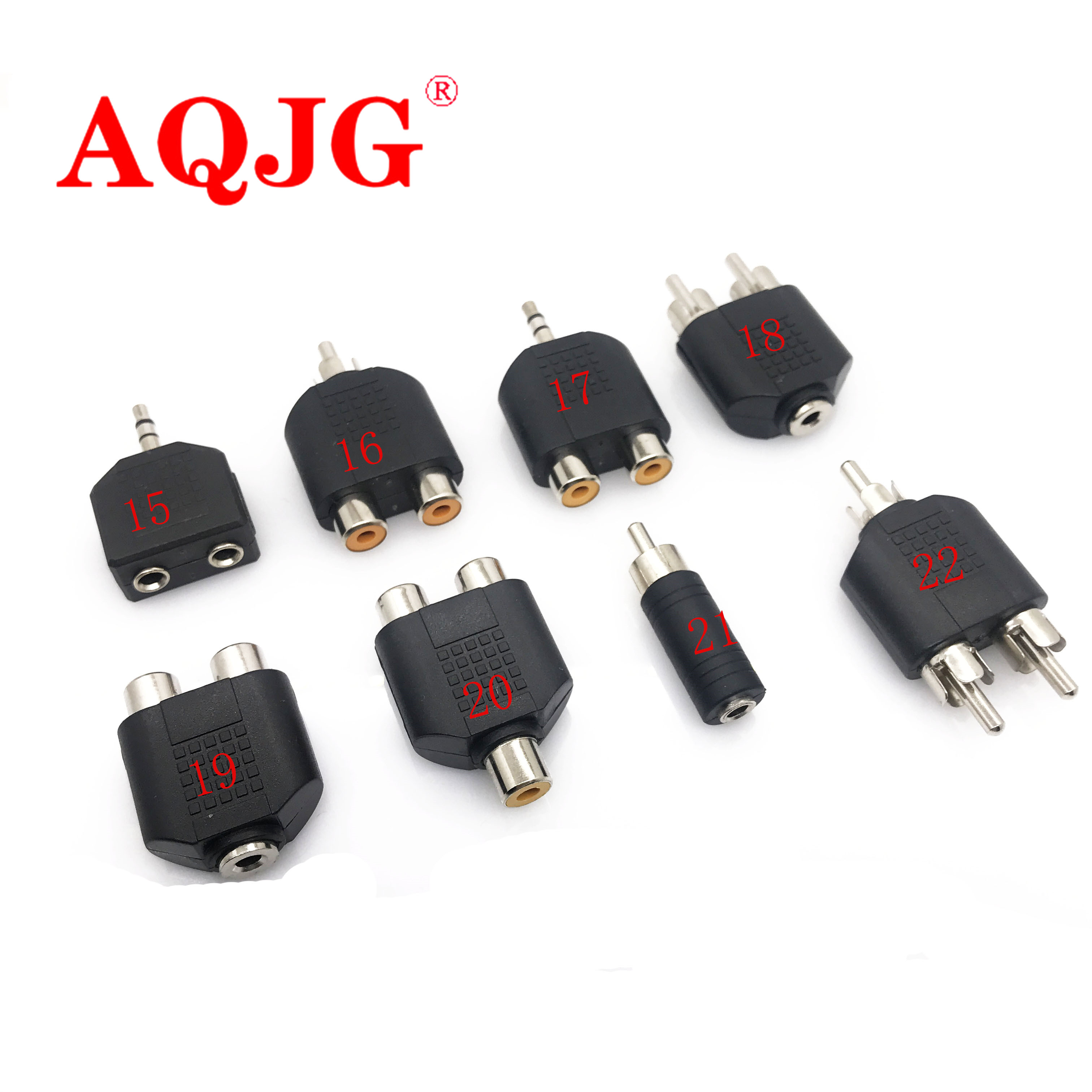 Audio Connecter Adaptor Plug 3.5 Stereo Plug RCA AV Splitter 6.5 Male To Female Audio Cable Adapter RCA 1 To 2 90 Degree BNC6.35