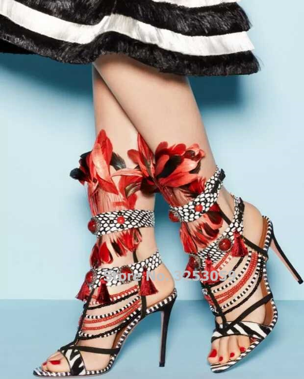 ALMUDENA Newest Designer Red Feather Color Block Gladiator Sandals Gorgeous Tassel String Beaded Gem Dress Shoes Stiletto Heels цена 2017
