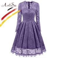 ArtSu 50 S Retro Floral Print V Neck Lace Dress Women Classic Long Sleeve Slim Pleated
