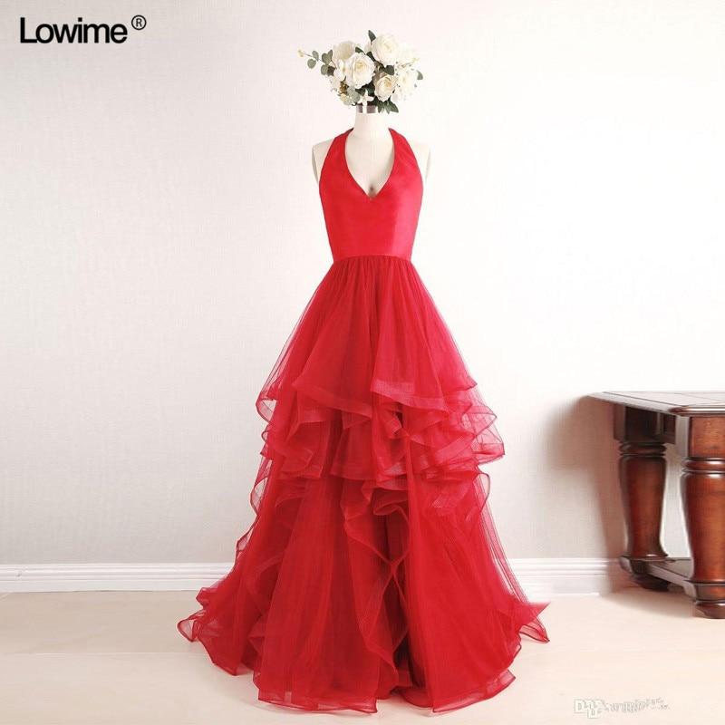 Sexy Elie Saab longue arabe licou rouge Tulle formel soirée robe de bal turc Abiye robes de soirée robes Avondjurk 2018