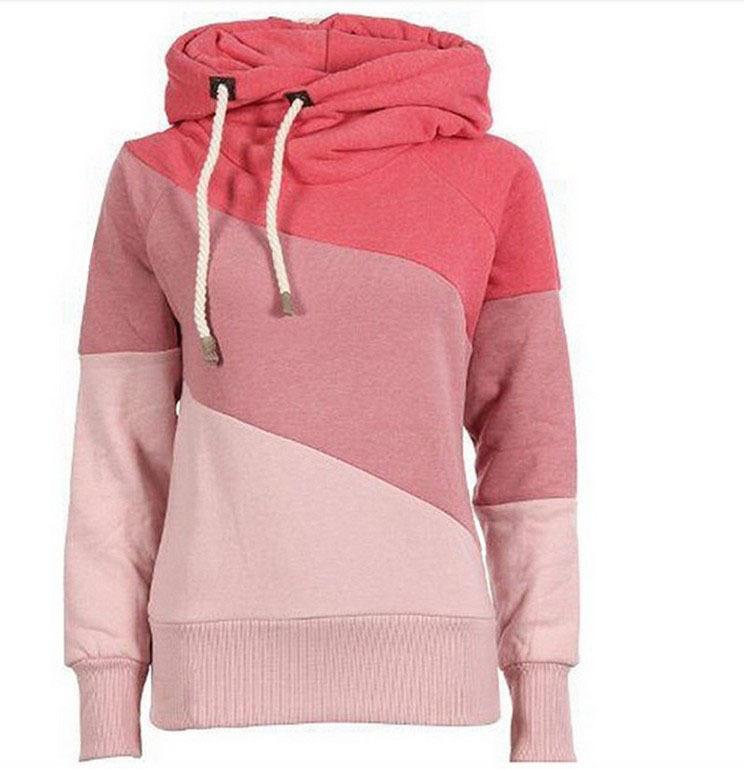 US $20.1 |Spring Autumn Ladies pink Hooded Sweatshirt Long Sleeve svitshot hoodies for women Striped women sweatshirt plus size coat in Hoodies &