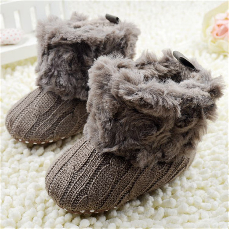 Baby Infants Crochet Knit Fleece Boots Toddler Girl Boy Snow Crib Shoes Winter Booties Baby Shoes First Walkers