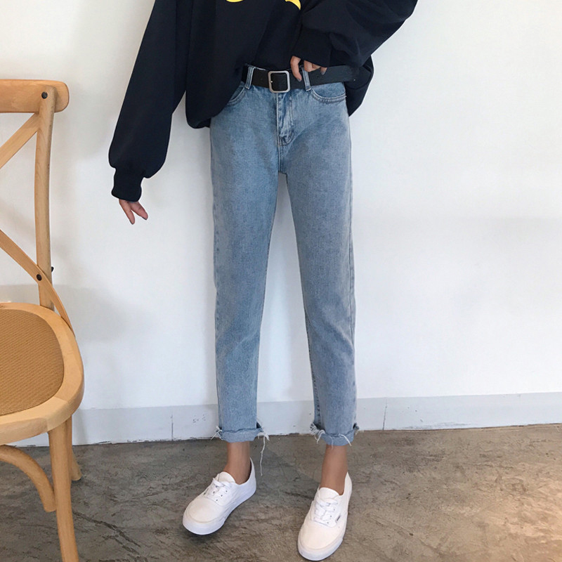 Spring Summer Denim Pants Women Casual High Waist Ankle Length Pants Female Casual Straight Jeans in Jeans from Women 39 s Clothing