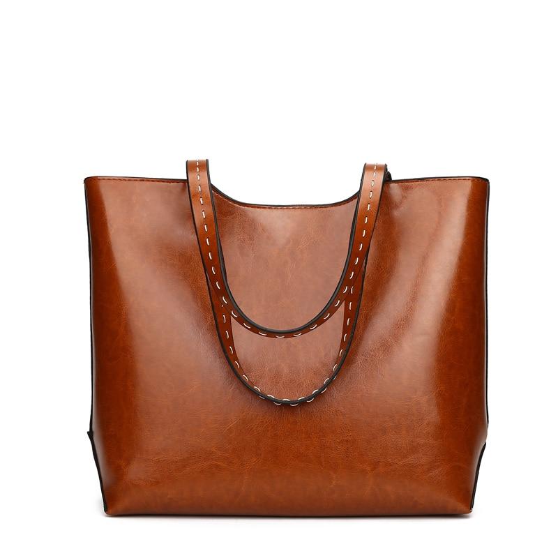 Women\'S Soft Leather Handbag Women Shoulder Bag Luxury Rivet Bucket Bag Women\'S Handbags