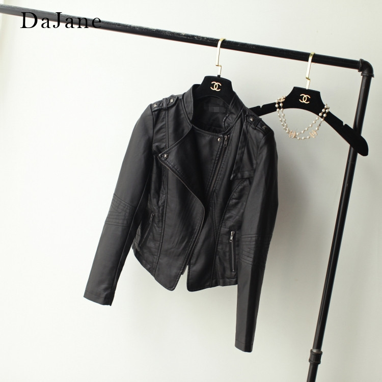 DaJane Wear Locomotive Double Lapel women's PU   Leather   Jacket Short Slim Small   Leather   Coat women's Jacket