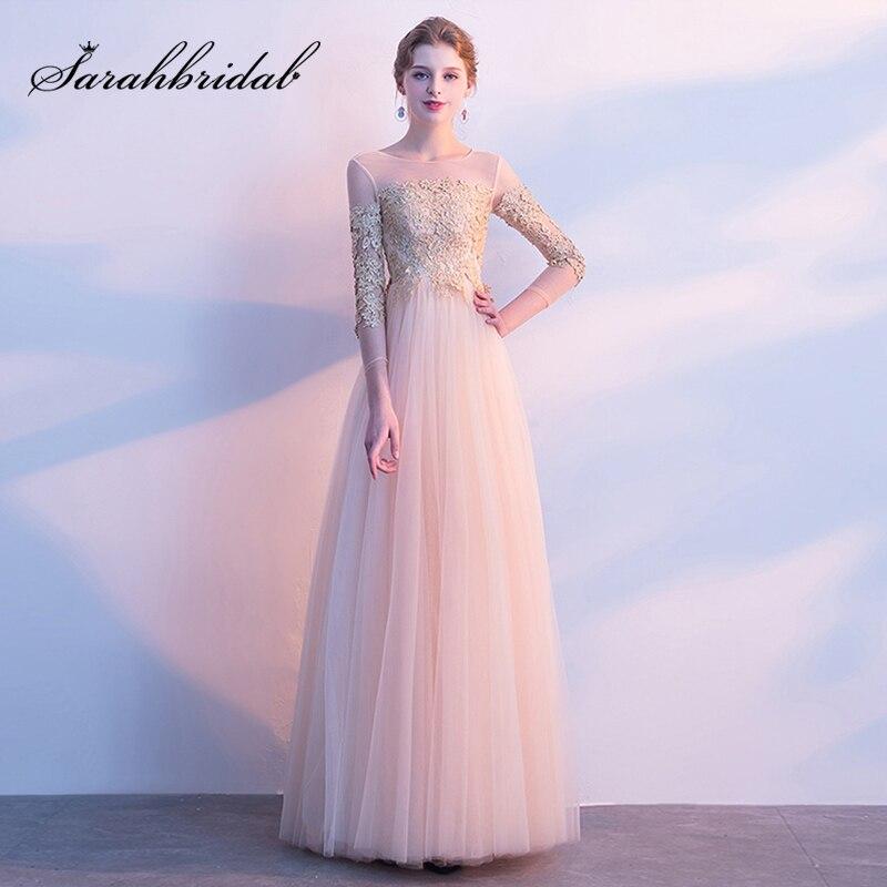 982962398bc8 € 68.43 35% de DESCUENTO|Vestidos de dama de honor de encaje baratos  vestidos largos de tul con cremallera espalda Formal vestidos de graduación  de ...