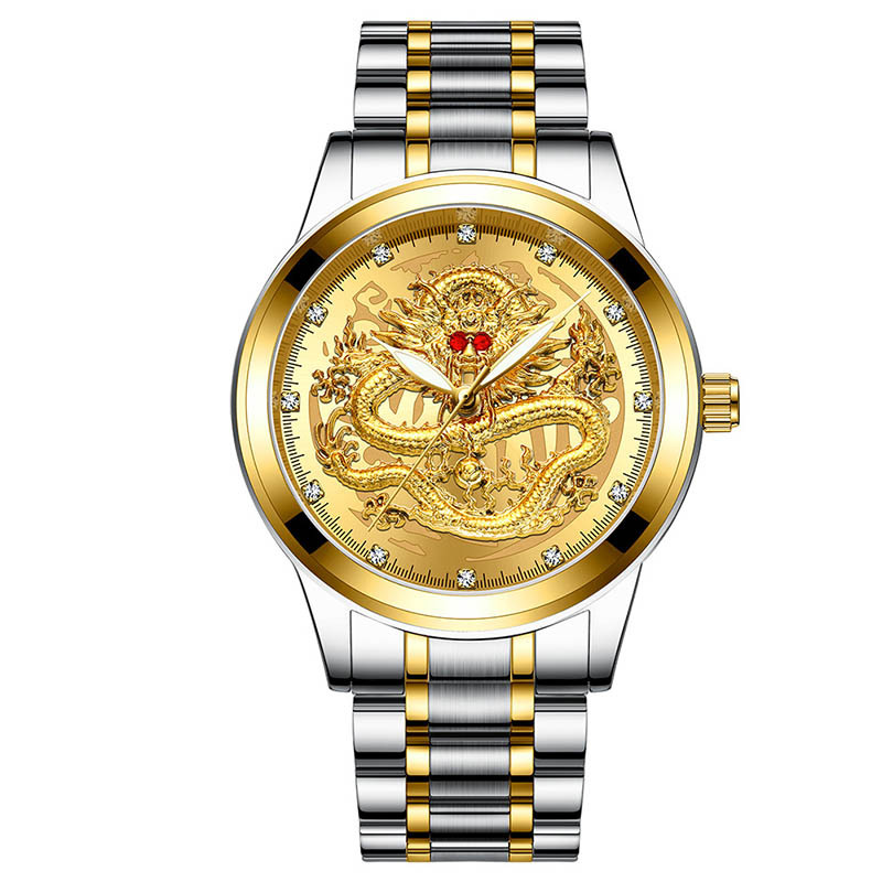 Man Watch Luxury Business Steel Waterproof Luminous Quartz Wrist Watch Male Clock Fashion Embossed Gold Dragon Watch