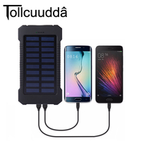 Tollcuudda 10000mAH Solar Cell Power Pover Bank For Iphone 6S 7 Mp3 Universal External Portable Charger