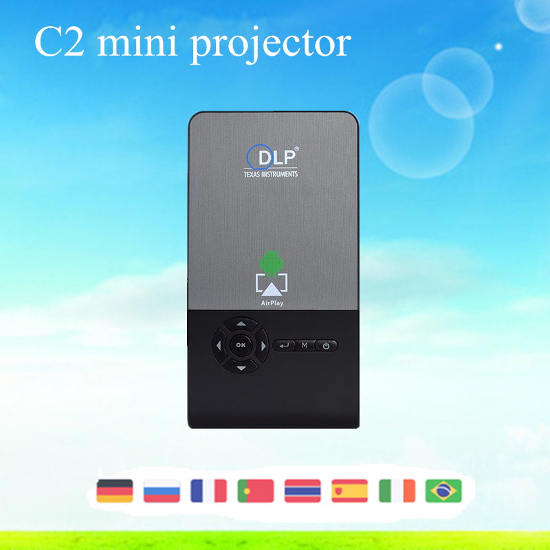 Smart Mini Projecteur C2 Android 4.4 Mini LED DLP Portable Longue vie LED lampe Full HD