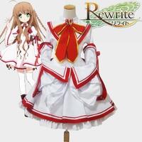 Anime Rewrite Kobe Vogel Uniformen Meisjekleding Cos Cosplay Kostuum Hot koop Jurk + Drukte + Wit sokken N