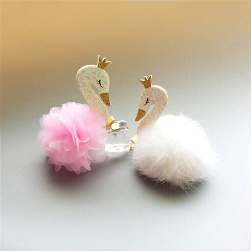Cute Swan Hair Ball Hairpin Princess Feather Hairpins Girls Kids Hair Clips Accessories For Children Hairclip Barrette Headdress kawaii girl kids princess crown hair clip pin hairpin accessories for girls hair clips hairclip barrette tiara ornaments st 20