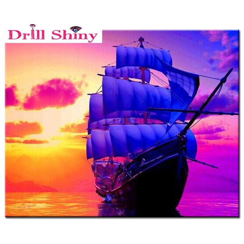 5d diy diamante pittura barca a vela immagini punto croce for Punto croce immagini