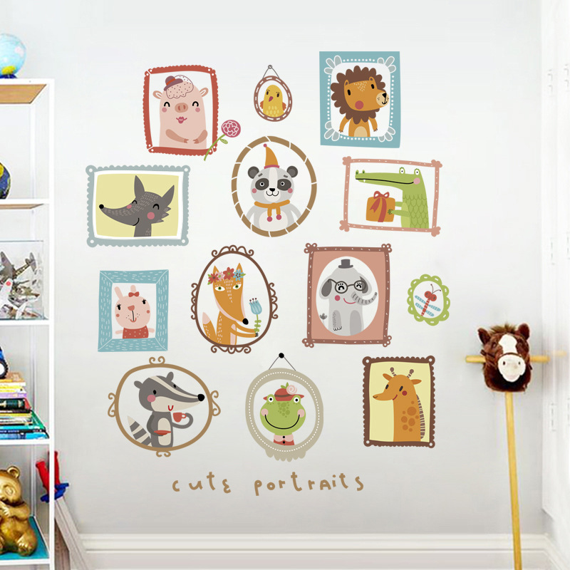 Us 7 99 Family Of Animals Wall Stickers For Kids Rooms Safari Nursery Baby Home Decor Poster Cute Portrait Sticker In