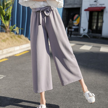 2019 Women Chiffon High Waist Wide Leg Pants Bow Tie Drawstring Sweet Elastic Waist Loose Ankle-length Pants Trousers Pantalones scallop hem tie waist wide leg pants