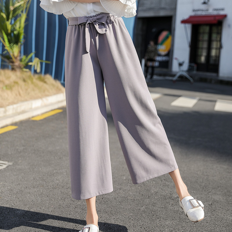 2019 Women Chiffon High Waist   Wide     Leg     Pants   Bow Tie Drawstring Sweet Elastic Waist Loose Ankle-length   Pants   Trousers Pantalones