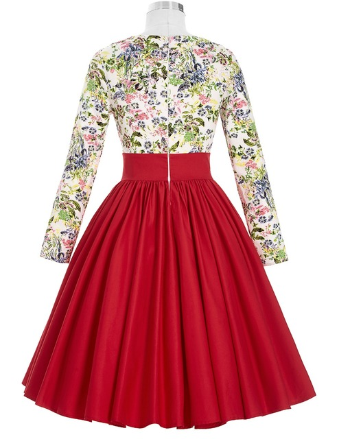 Summer Dress 2016 Red Long Sleeve Ladies Floral Print Women Dress Plus size Vestidos 50s Vintage Retro Tunic Casual Dresses