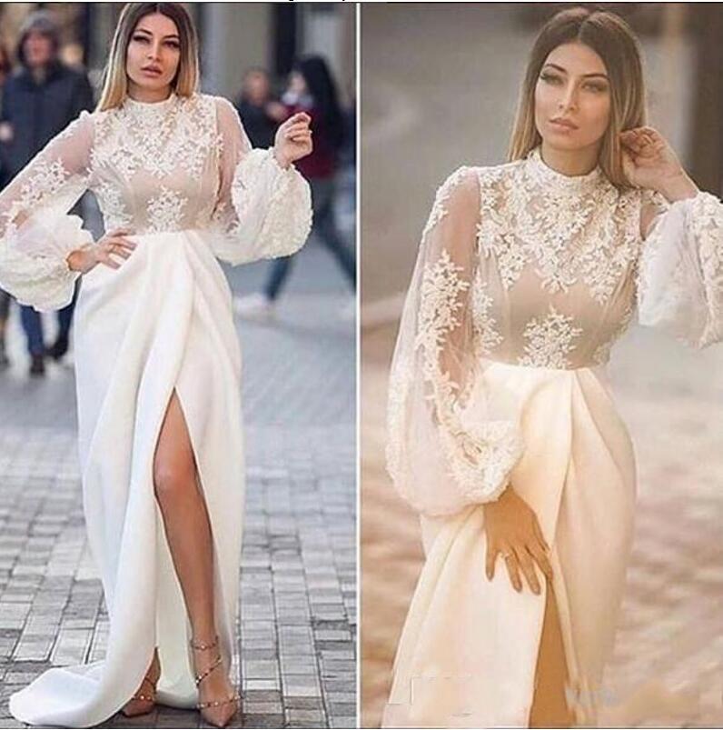 Col haut blanc 2019 robes de soirée sirène dentelle Applique Illusion manches longues robes de soirée formelles côté Split Sexy robe de bal