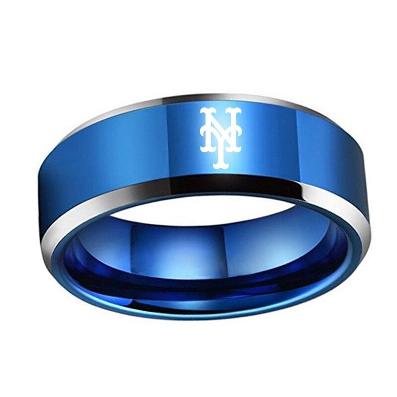 NEW YORK METS TEAM RING TITANIUM STEEL UNISEX JEWELRY SPORT size 8-13