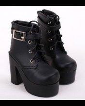 Zapatos SD AOD DOD BJD MSD para mujer y niña, de piel sintética, de tacón alto, color blanco y negro, 1/3, 1/4