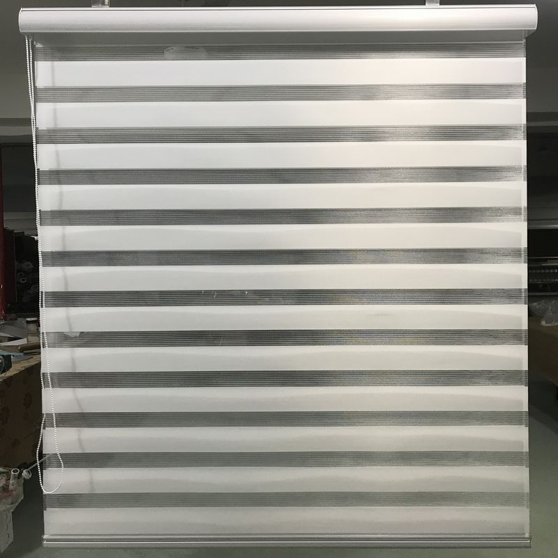 Zebra Blinds Horizontal Window Shade Double layer Roller Blinds in Ivory Window Custom Cut to Size