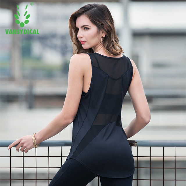 33ce6630e5206 Vansydical Women s Sexy Mesh Yoga Shirts Sleeveless Quick Dry Loose Fitness  Sports T-shirt Summer Running Training Gym Tops