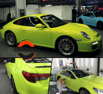 Light Green GLOSSY Vinyl Wrap With 3 Layers Fluorescent Green High Gloss Shiny Car Wraps Film Graphic air Free 1.52*20M/Roll