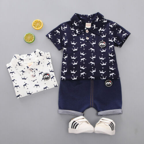 >Toddler Kid Boys <font><b>Clothes</b></font> <font><b>Small</b></font> <font><b>Crown</b></font> Blouse T Shirt Tops+Jeans Pants Shorts 2Pcs Outfit set Sunsuit 1-5Y