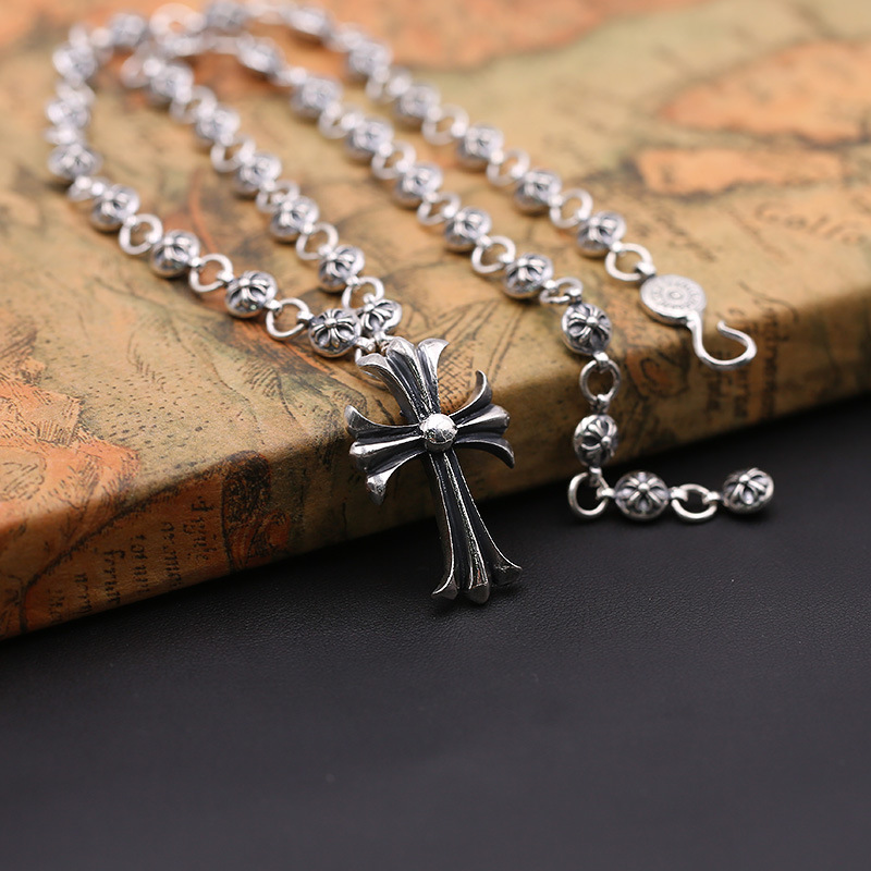 Fashion S925 Sterling Silver Jewelry Retro Thai Silver Men And Women Cross Army Flower Sweater Chain s925 sterling silver silver bracelet retro fashion jewelry made of old men and women