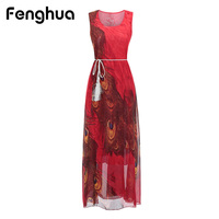 Fenghua 2018 Slim Women Summer Dress Casual Bohemia Chiffon Beach Maxi Dress Elegant Floral Print Party