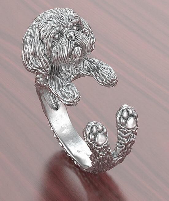Wholesale 15pcs/lot  Shih Tzu Ring Adjustable Free Size Cartoon Animal Dog  Ring Jewelry For Pet Lovers
