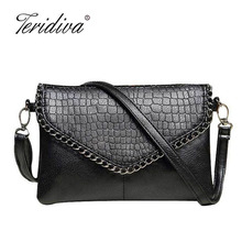 Teridiva Female Designers Fashion Vintage Bags Women Shoulder Bags Crocodile Small Women Messenger Bag Crossbody Envelope
