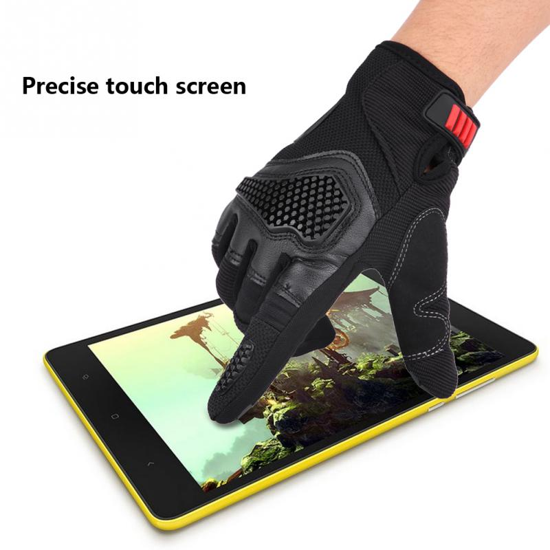 1 Pair of Non-slip Full Finger Touch Screen Gloves for Motorcycle Cycling Racing Outdoor Sports Breathable Red/Blue/Black M L XL