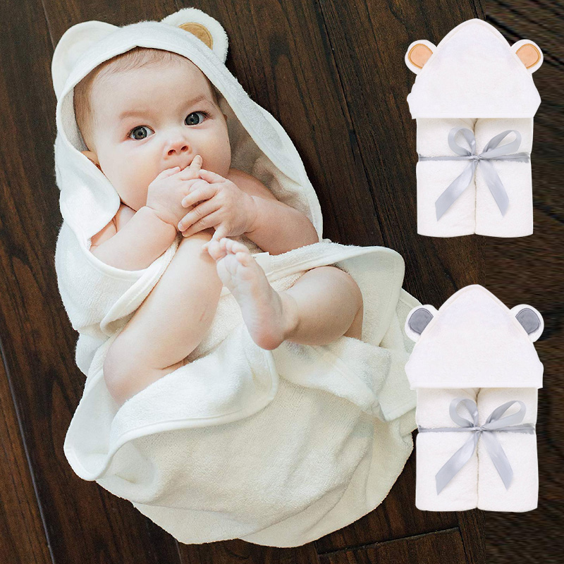 Premium Bamboo Baby Hooded Towe Set Organic Soft Absorbent Hypoallergenic Great Baby Shower Gift For Boys And Girls Bath Towel