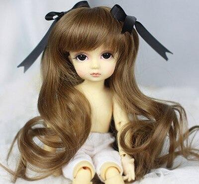 1 6 Bjd Puppe Perucke Karamell Braun Langen Lockigen Haar Perucke Y