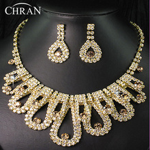 Austrian Crystal 18 K Gold Plated Necklace Earrings Set Hot Sale Rhinestone Bridal Wedding Jewelry Sets For Women Free Shipping