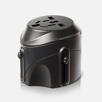 Yulass International Travel Power Plug Adapter With Surge Protection Retail Package Black