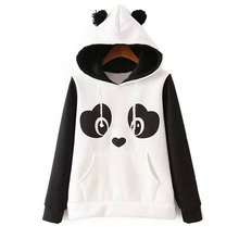 Women's Autumn And Winter New European And American Hippie Playful Black And White Color Printing Fleece