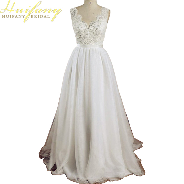 Einfache Sommer Brautkleider V ausschnitt Spitze Applique Low Back ...