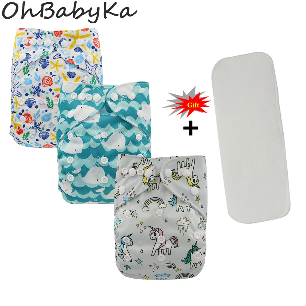 Ohbabyka Newborn Reusable Nappies Baby Cloth Diaper Cover Boys Training Pants Washable Baby Pocket Diapers+Microfiber Insert