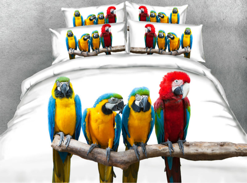 Jf141 Colorful Macaw Print Bed In A Bag 5pcs Twin Queen
