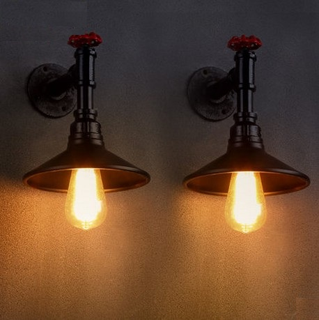 Retro Loft Style Creative Water Pipe Lamp Edison Wall Sconce Industrial Vintage Wall Light Fixtures For Home Lighting Lampara retro loft style industrial vintage wall lamp edison wall sconce 2 lights water pipe wall light fixtures home lighting e27 bulb