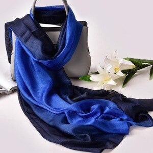 Image 2 - 2020 Luxury Brand Real Silk Women Scarf fashion Soft silk kerchief Female Shawl Foulard Beach cover ups wraps Silk Bandana Hijab