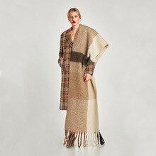 Luksusowa marka nowy zimowy szalik kobiety Patchwork solidne kaszmir szaliki okłady Wram szale damska paszmina pani koc etole hidżab