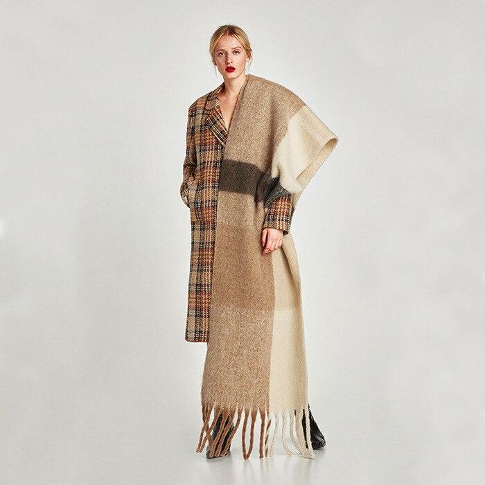 POBING Brand New za Winter   Scarf   Women Patchwork Solid Cashmere   Scarves     Wraps   Wram Shawls Female Pashmina Lady Blanket Shawls