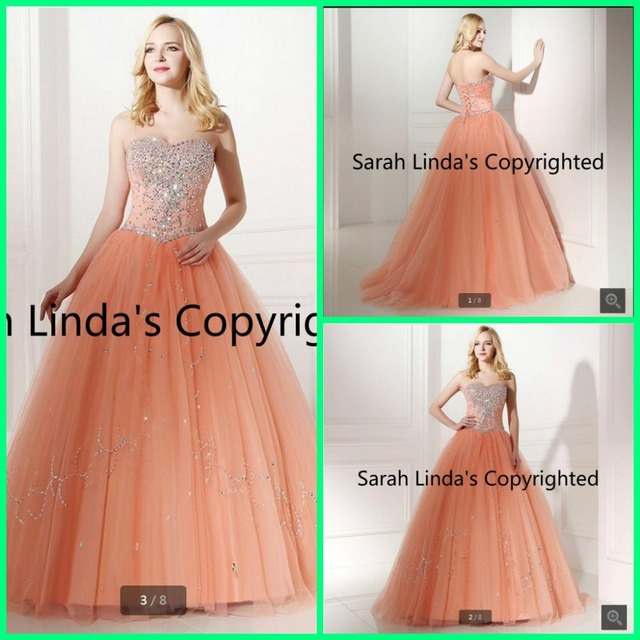 Real Models Peach Ball Gown Prom Dresses With Rhinestone Beadings Sequins  Vestidos De Quince Anos 2016 f98f68342d1d