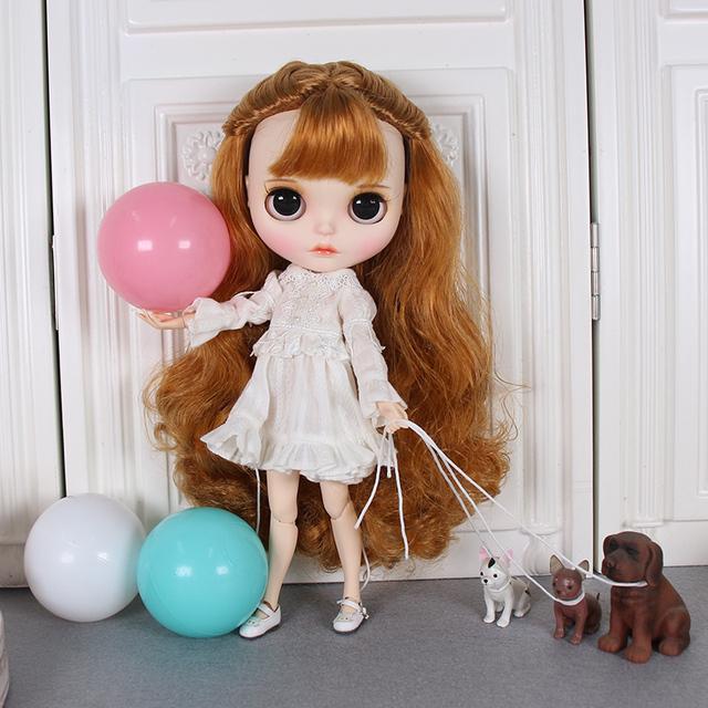 Blyth doll New makeup white skin matte face handmade eye string with sleeping eye long eyelash service